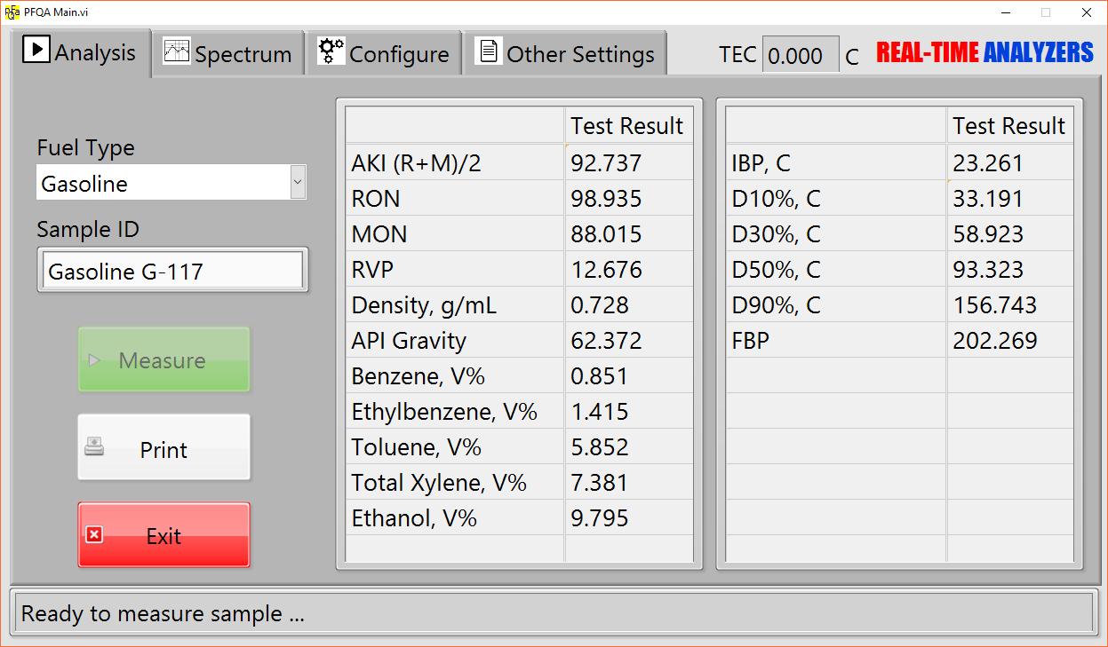 PFPA Software Screen